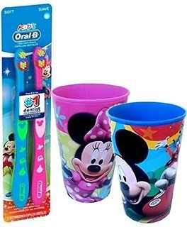 Disney Mickey Mouse & Minnine Mouse Inspired 4pc Bright Smile Oral Hygiene Set! Includes Soft Manual Toothbrush Set! Plus Matching Mouth Wash Rinse Cups!