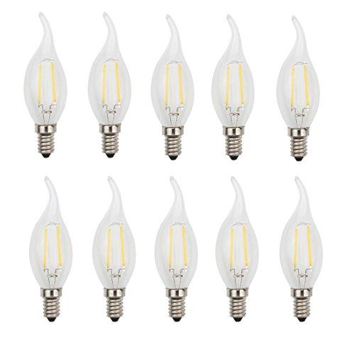 JCKing (Pack of 10) AC 110V-130V 2W E14 Dimmable LED Filament Bulbs Candle Flame tip LED Light Bulb, LED Vintage Antique Chandelier Light Warm White 2700K