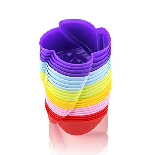 LAVAVIDA Silicone Cupcake Liners, 24 Pack 6 Colors Rose Baking cups, Resuable and Nonstick Muffin Holder, Standard Size Cake Molds - (Rose Cupcakes)