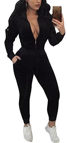 (Speedle Sexy Women Hoodie Jacket Long Pants Velvet 2 Piece Casual Sweatsuit Tracksuit Set Black S )