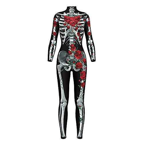 Litchi 3D Style Skeleton Bone Bodysuits, Frame Jumpsuit, Women Skeleton Halloween Cosplay Costume (L)