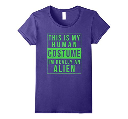 Womens Alien Halloween Costume Shirt Funny UFO Easy for Kids Adults Large Purple