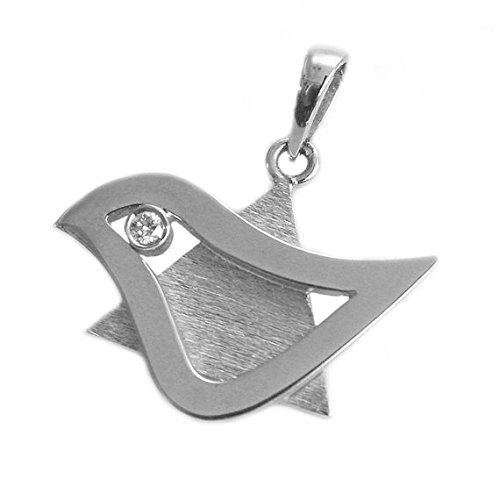 Large Brushed 18k White Gold and Diamond Star of David with Dove of Peace Pendant