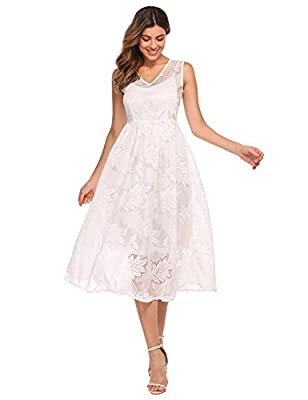 ANGVNS Women's Elegant V-Neck Sleeveless Floral Lace Evening Party Midi Dress