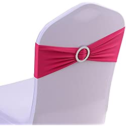 iEventStar Spandex Chair Sash Cover Stretch Band Buckle Slider Sashes Bow Hotel Wedding Banquet Decoration (50, Fuchsia)
