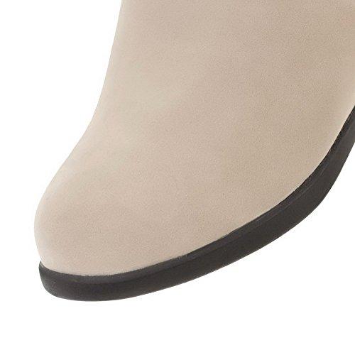 AgooLar Damen Ziehen auf Flaum Futter Rund Zehe Mittler Absatz Rein Stiefel Cremefarben