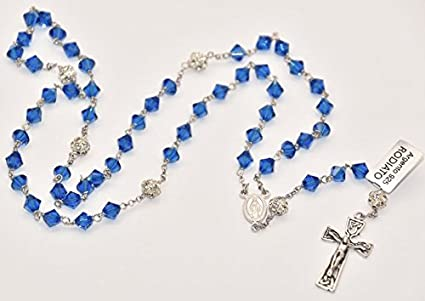 b81cfccda411 Rosario con cuentas azules milagrosas, collar rosario, cadena de ...