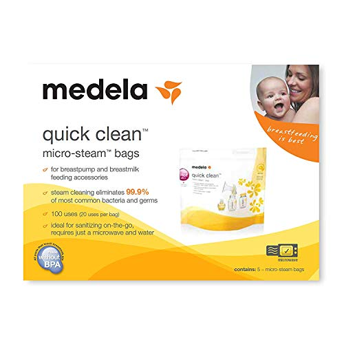 (Medela Quick Clean Micro Steam Bags, 15 Count, Steam Bags for Bottles and Breast Pump Parts, Disinfects Most Breast Pump Accessories)