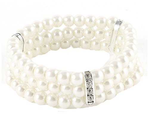 [Women 3 Rows Imitation Pearls Accent Off White Stretch Wrist Bracelet] (Labor Day Parade Costumes For Sale)