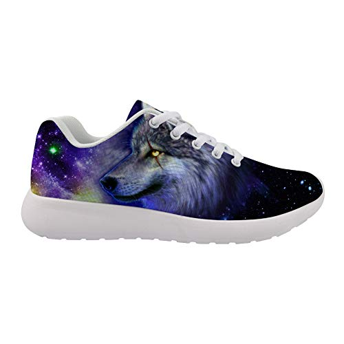(Running Shoes 3D Printed Wolf in The Star on Upper White-Soled Casual Sneakers are Comfortable for Women.)