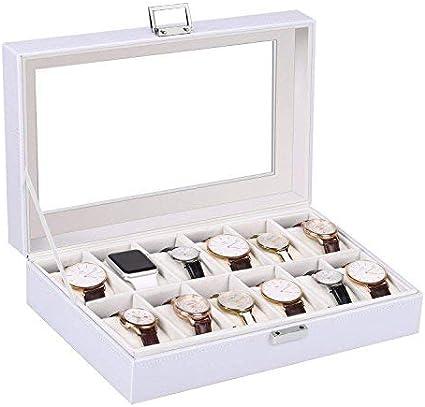 Amzdeal - Caja blanca para relojes, capacidad para 12 relojes ...