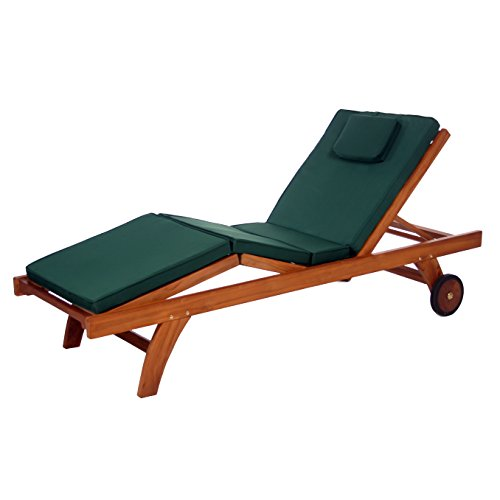 Cedar Chaise (All Things Cedar Teak Chaise Lounge with Green Cushion)