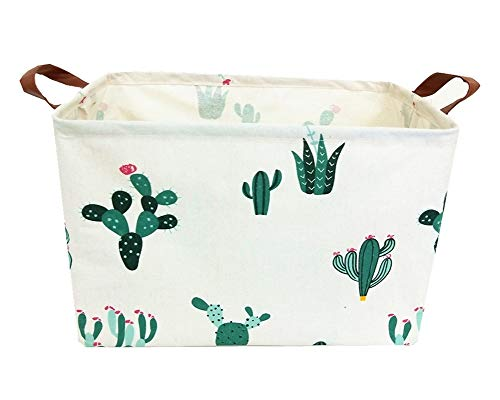 TIBAOLOVER Square Natural Linen & Cotton Fabric Storage Bin with Handles for organizing Kids Toy/Playroom Organization/Toy Bin/Closet/Shelf Baskets/Baby Hamper(Green and Red Cactus)