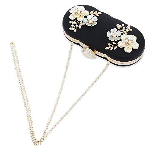 Womens Evening Clutch Bag Designer Evening Handbag,Lady Party Clutch Purse, Great Gift Choice (Black-3D shell pearl flower) ()