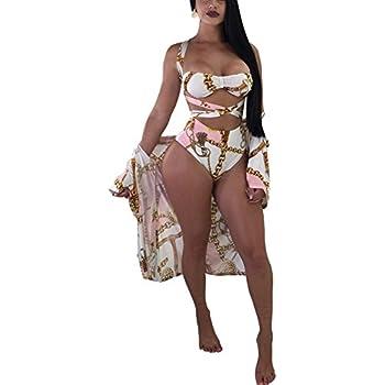 Amazon.com: Aleng Women's Sexy Three Pieces Tops Bottoms