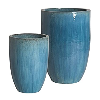 Amazon com : Tall Round Ceramic Planter - Blue (set of 2