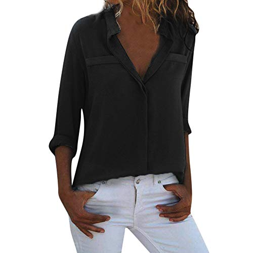 Elegant Blouses for Women, Seaintheson Womens Fashion V Neck Solid Button Up Blouse Casual Work Shirt Tops with Long Sleeve