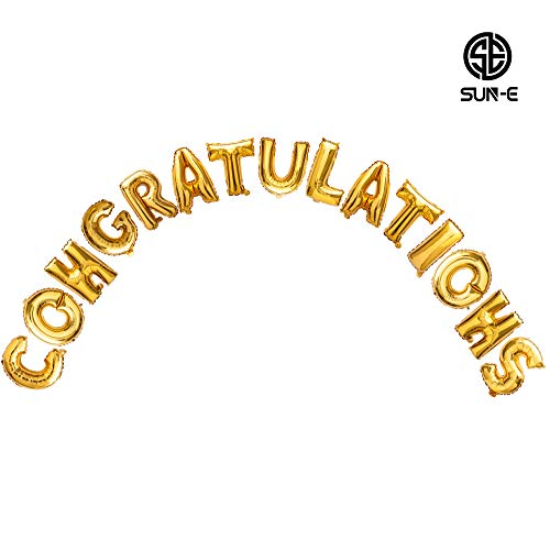 Sun-E Congratulations Balloons Banner Foil Balloons Letters Balloons Alphabet Letters Perfect Party Decoration Supplies 15pcs in Set ()