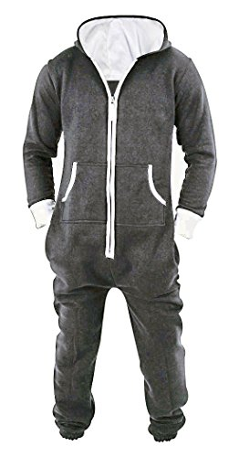 SKYLINEWEARS Men's Unisex Onesie Jumpsuit One Piece Non Footed Pajama Charcoal XXL