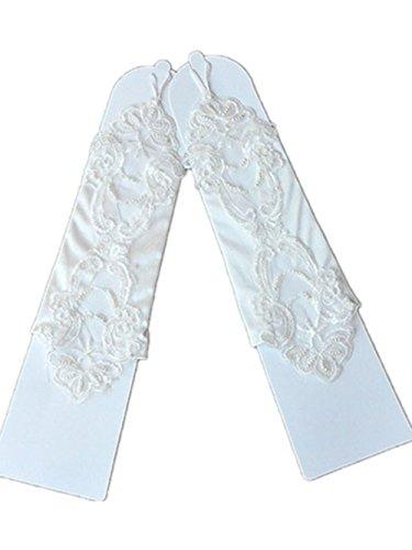 CL 27cm Flora Satin Flower Girl Bridesmaid/Children Long Fingered Fingerless Gloves for Wedding/Communion Prom Party Perform Show ()
