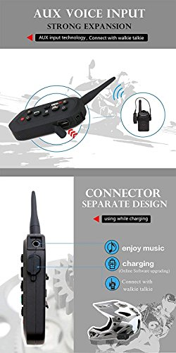 2 Pack EJEAS-E6 BT Bluetooth Intercom 1300m 6 Riders Full Duplex Talk Waterproof Wireless Motorcycle Helmet Interphone Headset with Walkie-Talkie Sports Skiing Climbing by ESoku (Image #3)
