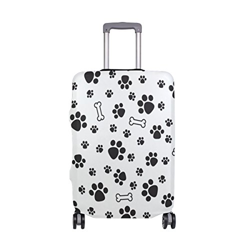 Dog Paws White Case - Black White Dog Paw Prints Suitcase Luggage Cover Protector for Travel Kids Men Women