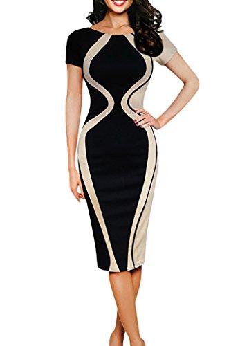 Smile YKK Farbe Spleiss Damen Sommerkleid Bodycon Kleid Festlich Kleid  Bleistiftkleid Knielang: Amazon.de: Bekleidung