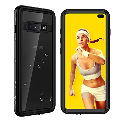 Waterproof Samsung Galaxy S10+ Plus Case, Underwater Crystal Clear Full Body Protective with Built-in Screen Protector Heavy Duty Rugged Case Shockproof Dustproof Waterproof Case for Galaxy S10+ - Small Waterproof Protector Case