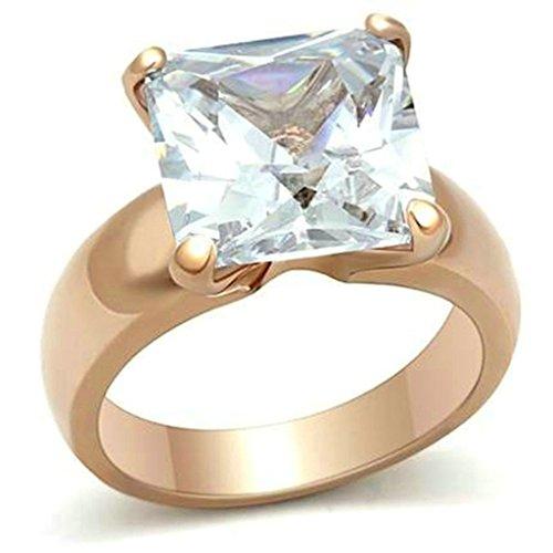 Daesar Gold Plated Rings Womens Engagement Rings Rose Gold Vintage Princess CZ Rings Size (Princess Esmeralda Costume)