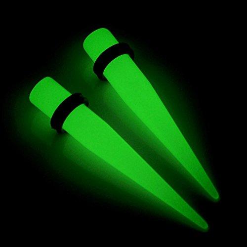 JSDDE6mm Piercing Plug Flash Lumineux Conique Acrylique Taper Expandeur Oreille Elargisseur Blanc