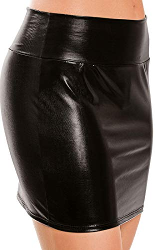 HiSexy Sexy Metallic Leather Pencil Dress Wet Look Mini Skirt Shiny Bodycon Swimsuit for Women Black