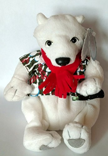 #0209 Coca-Cola Polar Bear in Striped Shirt with Bowtie - Coke Bean Bag Plush -