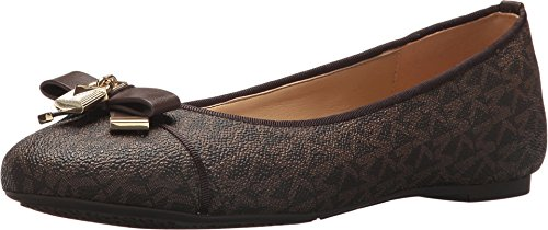 Michael Kors Womens Alice Leather Round Toe Ballet Flats, Brown, Size 7.5