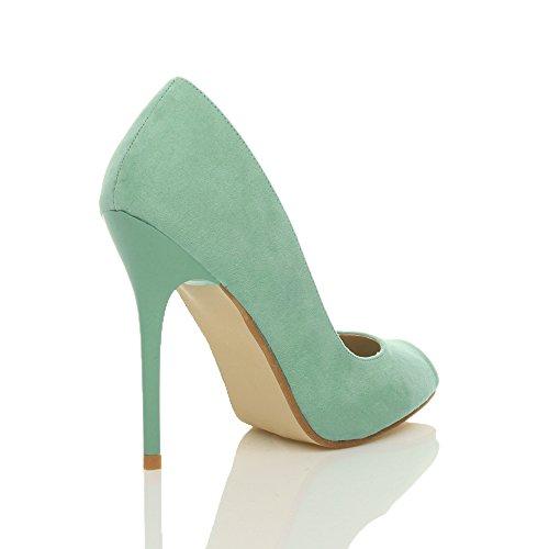 Ajvani Damen Hohen Absatz Arbeit Party Grund Peep Toe Schuhe Pumps Sandalen Größe Tadellose Grüne Wildleder
