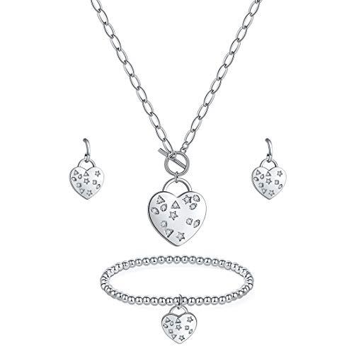 MILATU Heart Charm Jewelry Set 3A Cubic Zirconia, Platinum-Plated Necklace Earring Bracelet,Jewelry Gift for Women Girls