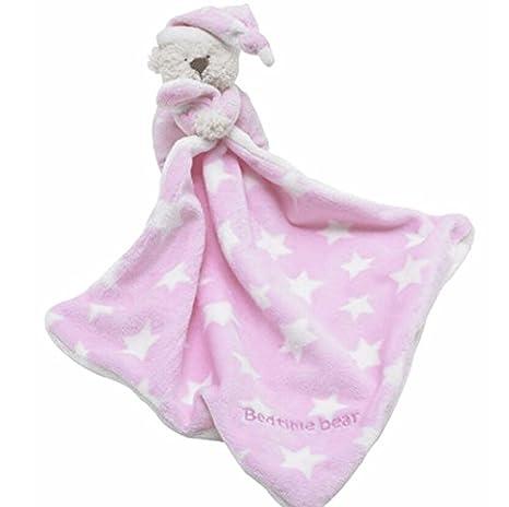 Bellecita Lindos Juguetes Que atraen Toalla de Mano de algodón Natural de edredón Infantil con Forma de bebé y Osito Rosado: Amazon.es: Hogar