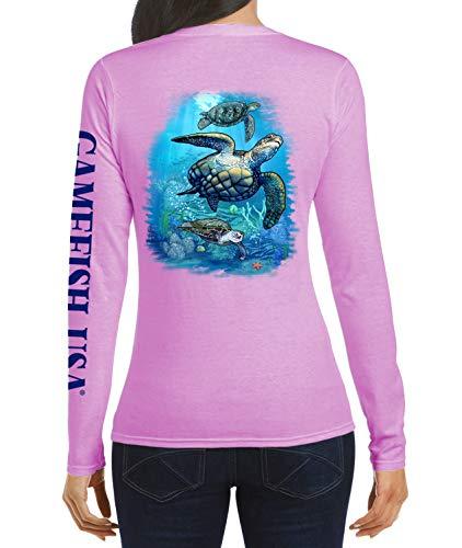GAMEFISH USA Women's UPF 50 Lightweight Microfiber Moisture Wicking Performance Fishing Shirt Turtles Medium Pink ()