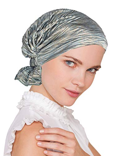 - Abbey Cap Womens Chemo Hat Beanie Scarf Turban Headwear for Cancer Blended Knit Blue Green Gold