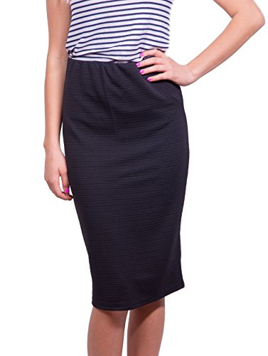 Womens Pencil Skirts Below The Knee Length Solid Color by Caldore (Medium, (Waistband Pencil Skirt)