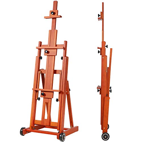 "MEEDEN Artist Multi-Function Studio Easel, H-Frame Easel, Beech Wood Studio Easel, Holds Canvas Art up to 77""(Walnut Color)"