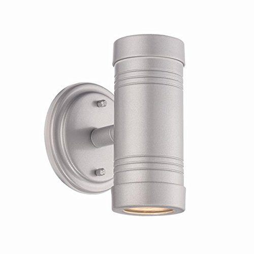 Acclaim 7692BS Cylinders Collection 2-Light Wall Mount Outdoor Light Fixture, Brushed Silver