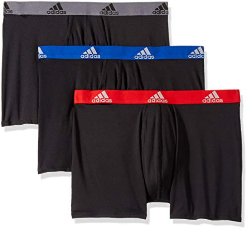 (adidas Men's Climalite Boxer Briefs Underwear (3-Pack), Black/Collegiate Royal Black/Scarlet Black/Onix, Medium)