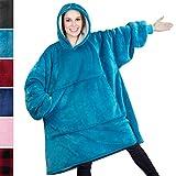 PAVILIA Premium Blanket Sweatshirt with Sherpa Lining | Super Soft, Warm, Reversible Hoodie Blanket for Adults Men Women Girls Boys Kids | Giant Hood, Oversized Fleece Pullover with Pocket(Turquoise)