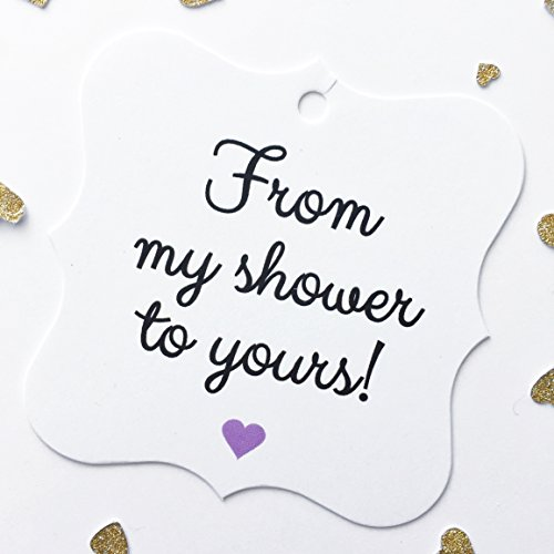 24 - Purple Bridal Shower or Baby Shower Favor Hang Tags, From My Shower To Yours (FS-67-PR) (Hang Bridal Tags)