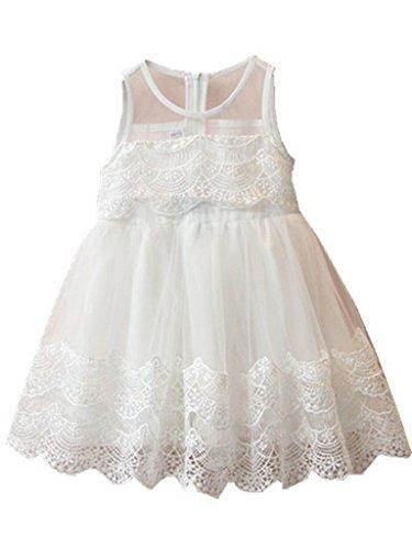 Happy Rose Flower Girl's Dress Vintage Lace White 10 (White Vintage Lace Flower)