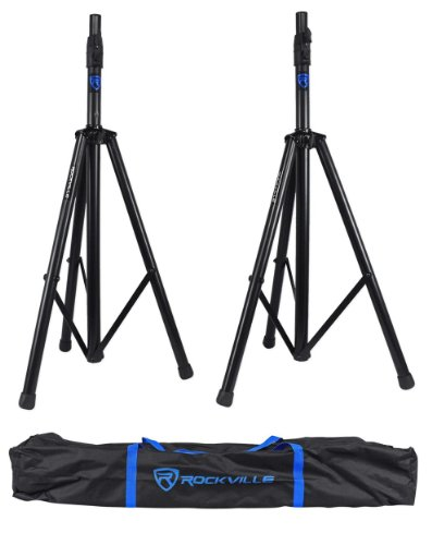 Rockville RVSS3 Pair Tripod DJ PA Speaker Stands Push Button Air Lowering System