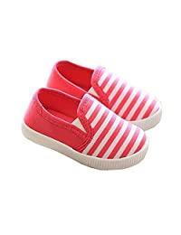XinYiQu Kids Stripe Canvas Shoes Breathable Loafers Sneakers Shoes for Girls Boys