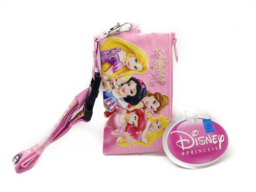 Disney Light Pink Princess Lanyard Id Ticket Iphone Key Chain Badge Holder Wallet