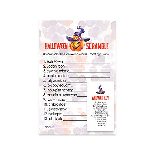 Clever Halloween Words (Pumpkin Halloween Party Games Word Scramble (25 Set) Baby Shower Birthday Kids)
