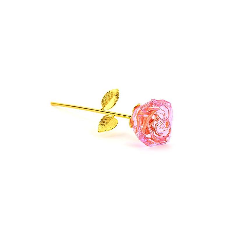 silk flower arrangements zjchao glass rose flower, 24k gold plated long stem artificial pink rose flower romantic christmas anniversary birthday valentines graduation gift for her